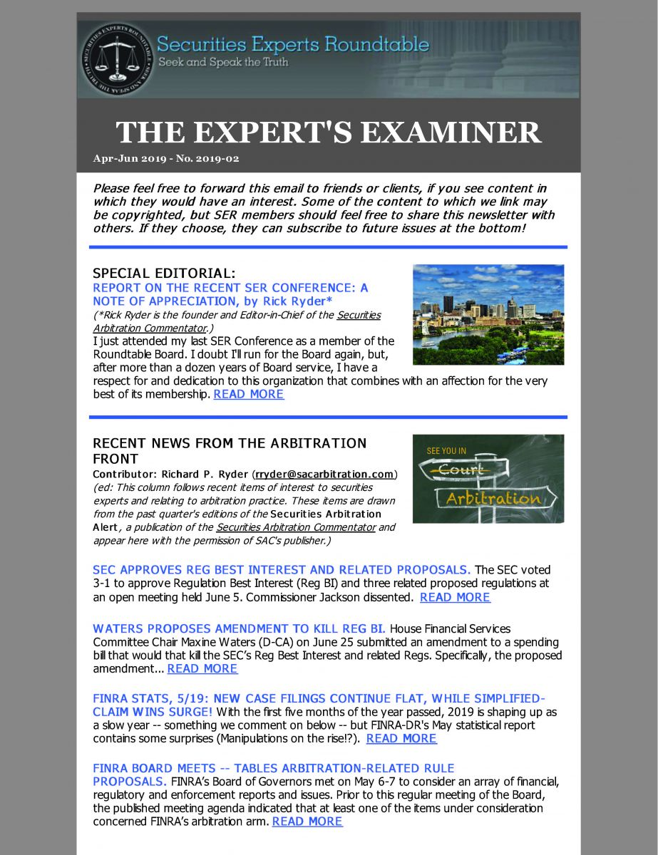 News from Securities Experts Roundtable